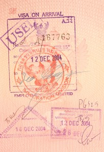 passport stamps - visa on arrival to thailand